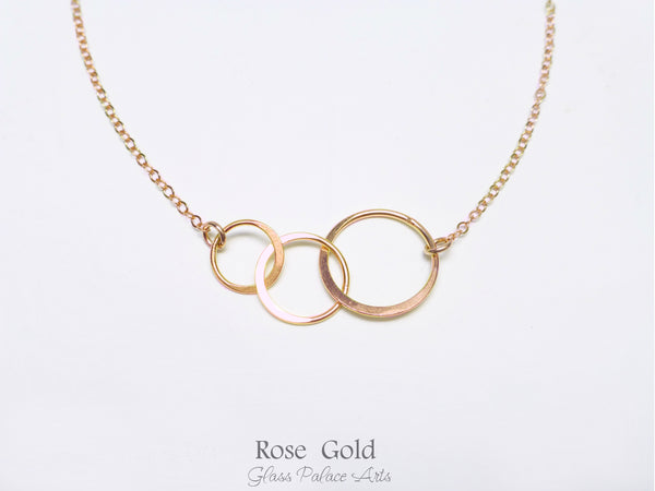 Rose Gold Three Circle Infinity Necklace