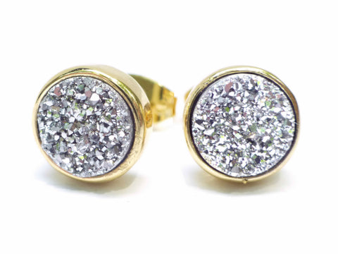 Silver and Gold Real Druzy Stud Earrings 8mm - Made With Real Sparkling Crystal Quartz Agate
