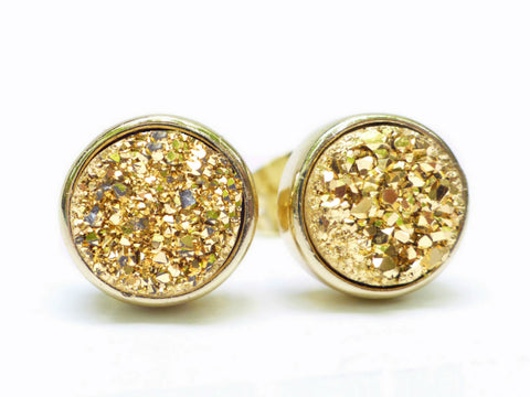 Gold Druzy Stud Earrings For Women, Sparkling Quartz Agate Crystal 8 MM