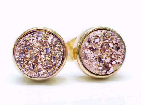 Round Rose Gold Druzy Stud Earrings 8mm - Made With Dainty Sparkly Real Gemstones
