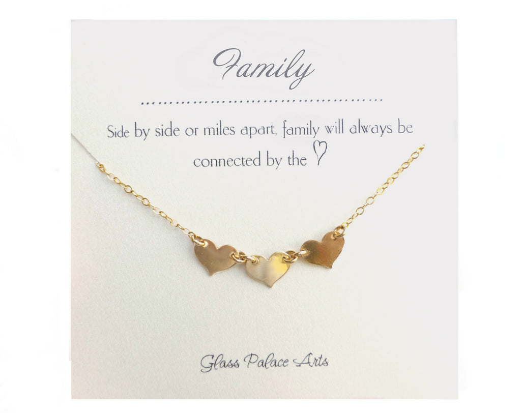 Three Heart Family Necklace - Gold, Rose Gold or Sterling Silver