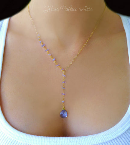 Genuine Tanzanite Necklace Gold or Silver - Gemstone Y lariat December Birthstone Jewelry