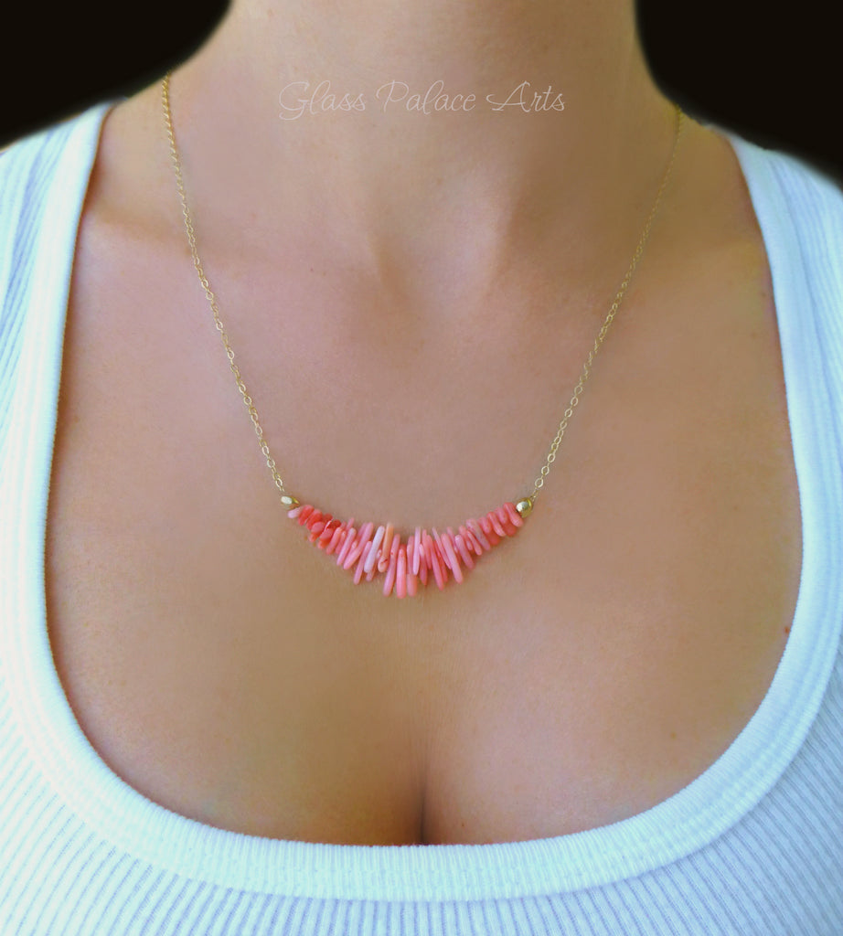 Pink Coral Necklace For Women - Sterling Silver, 14k Gold Fill or Rose Gold