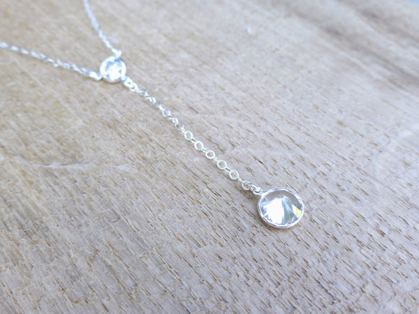 Cubic Zirconia Rhinestone Necklace - Delicate CZ Necklace - Sterling Silver Y Necklace