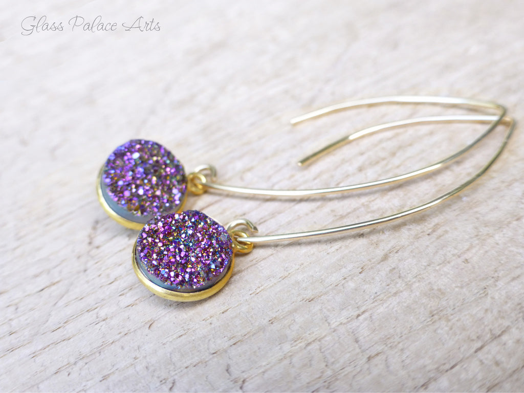 Purple Druzy Earrings - Purple Gemstone Earrings - February Birthstone