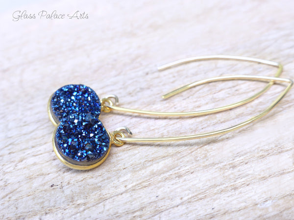 Beautiful Blue Druzy Earrings