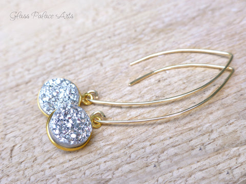 Gold Druzy Earring - Silver Druzy Earrings - Crystal Drop Earrings