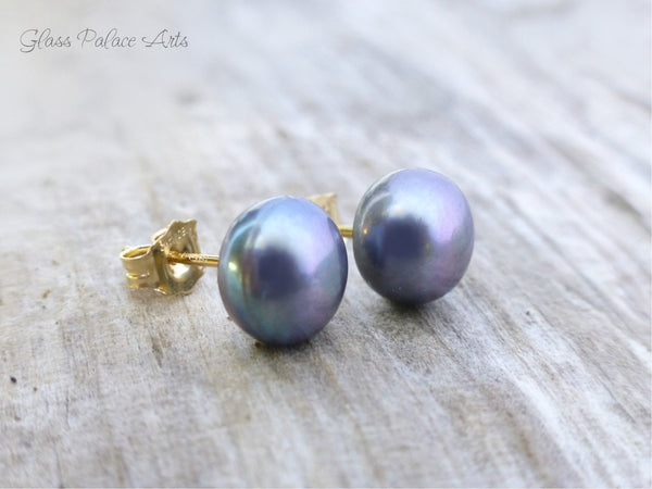 Peacock Pearl Earrings - Stud Pearl Earrings - Freshwater Pearl Stud Earrings