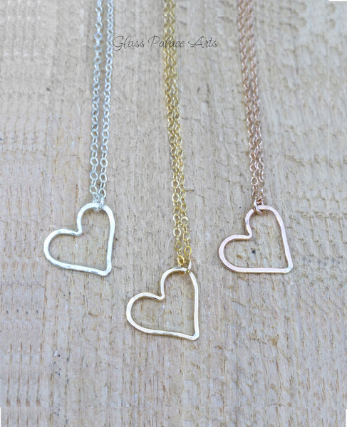 Floating Hammered Open Heart Necklace - Sterling Silver, Gold or Rose Gold
