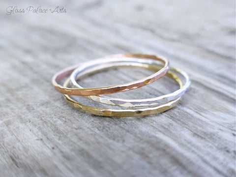 Hammered Stacking Rings Silver - Thin Rose Gold Ring - Layering Thumb Ring Gold