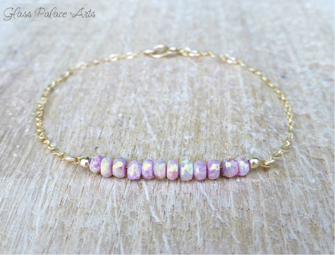 Pink Gemstone Bracelet - Delicate Beaded Bracelet - Pink Gemstone Jewelry
