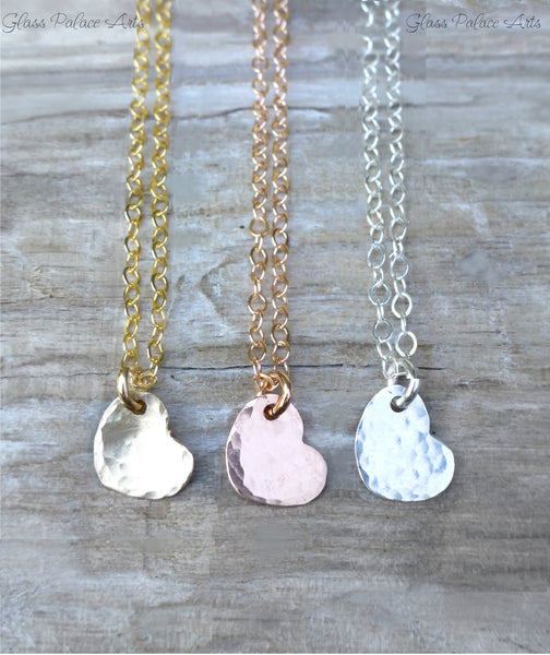 Hammered Heart Necklace - Tiny Heart Choker Necklace