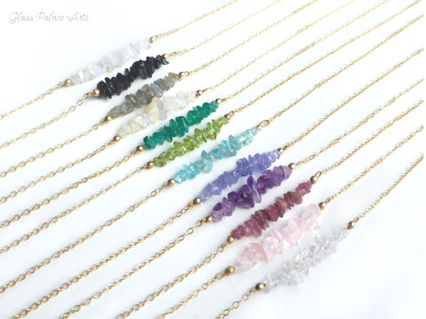 Beaded Bar Gemstone Necklace For Women - Crystal, Rose Quartz, Opal, Amethyst - Choose Your Birthstone
