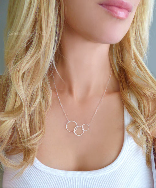 Three Circle Infinity Necklace For Women - Gold, Rose Gold, or Sterling Silver
