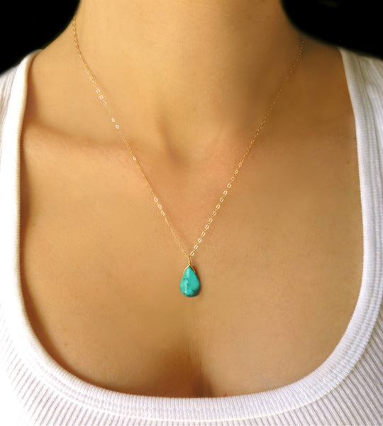 Genuine Turquoise Pendant Necklace For Women, 14k Gold Fill or Sterling Silver