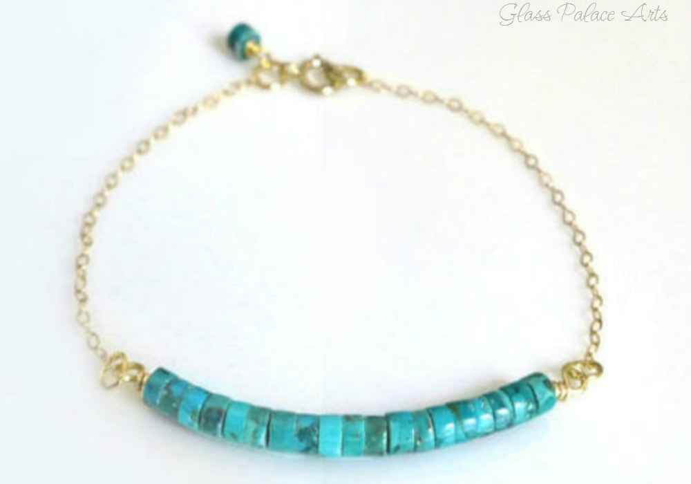 Genuine Turquoise Bracelet - Gold or Sterling Silver