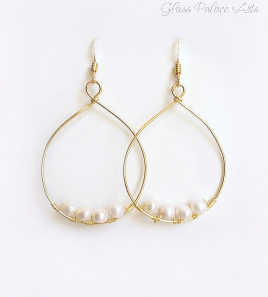 Freshwater Pearl Hoop Earrings - Wire Wrapped Pearl Earrings