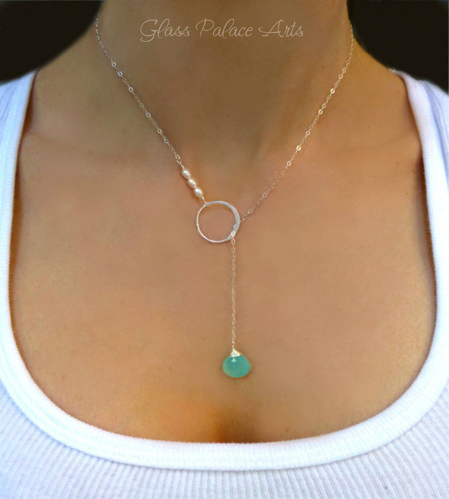 Chalcedony and Freshwater Pearl Lariat Necklace For Women - Sterling Silver or Gold