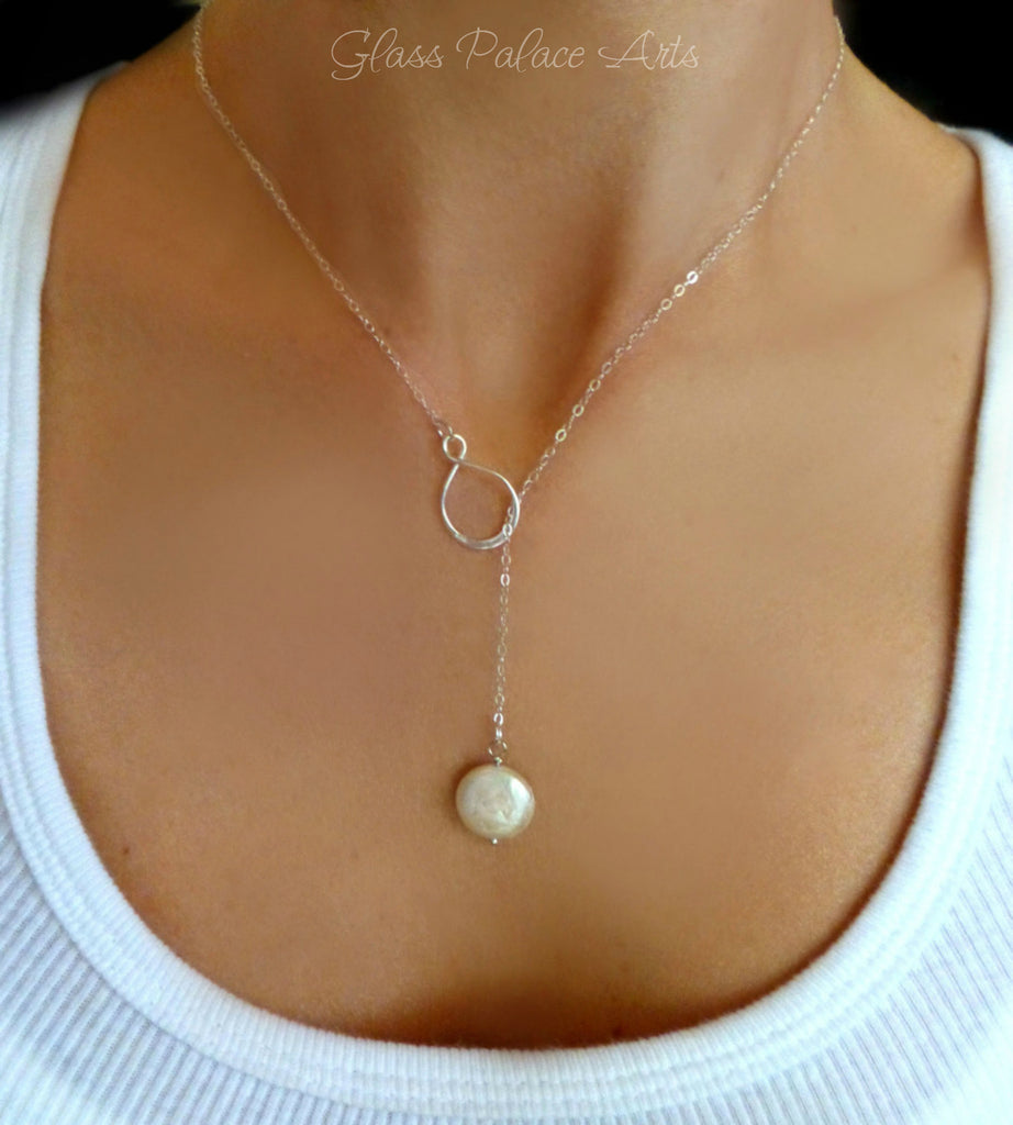 Infinity Pearl Lariat Necklace In Gold Rose Gold Or
