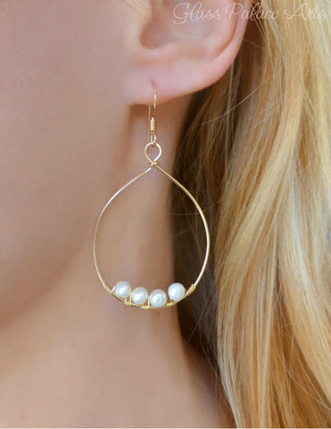 Floating Freshwater Pearl Hoop Earrings - 14k Gold Fill or Sterling Silver