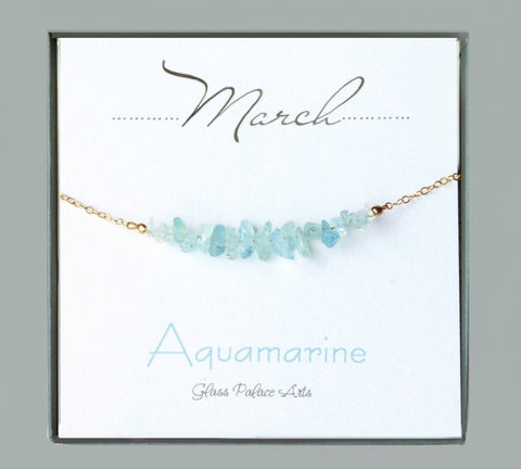 Raw Aquamarine Necklace Gold or Sterling Silver - March Birthstone Jewelry