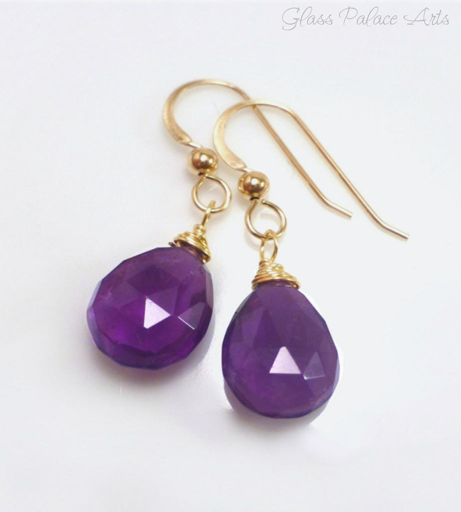 Genuine Amethyst Teardrop Earrings - Sterling Silver or Gold