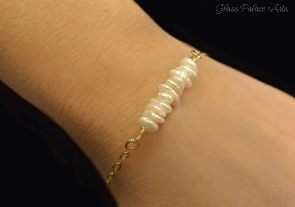 Freshwater Pearl Bracelet With Ivory Keishi Pearls - 14k Gold Fill or Sterling Silver