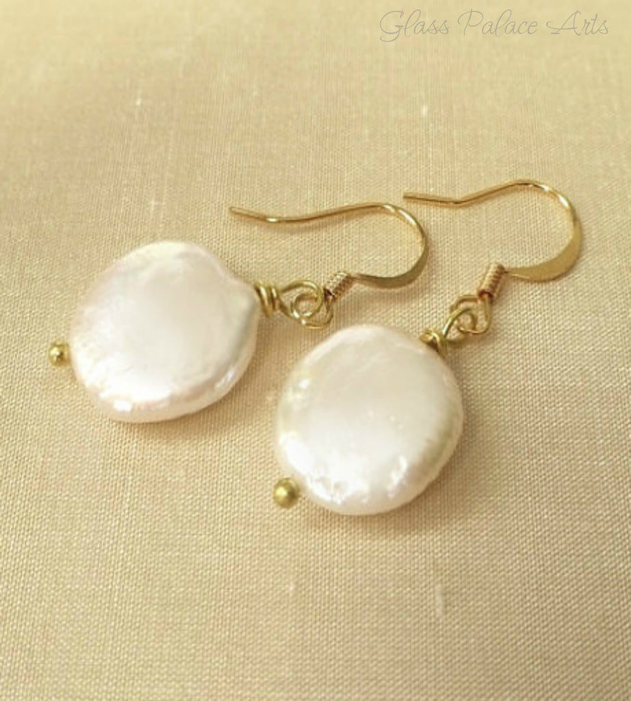 Freshwater Pearl Earring - White Ivory Coin Pearl Drop Earring