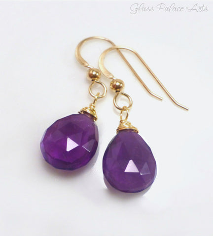 Genuine Amethyst Teardrop Earrings - Sterling Silver, Gold or Rose Gold