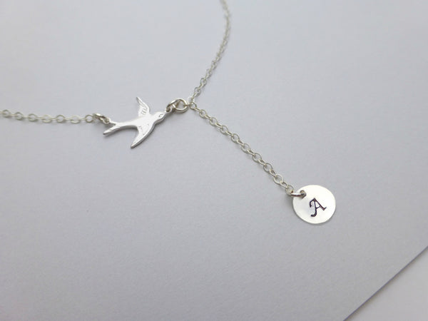Stamped Initial Necklace - Personalized Disk Necklace With Flying Bird - Stamped Jewelry