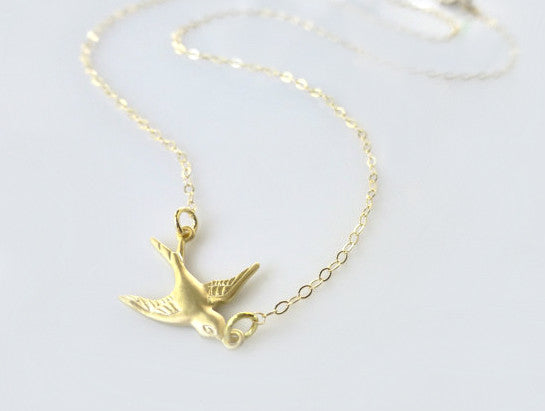 Small Bird Necklace - Flying Dove Necklace - Gold or Silver
