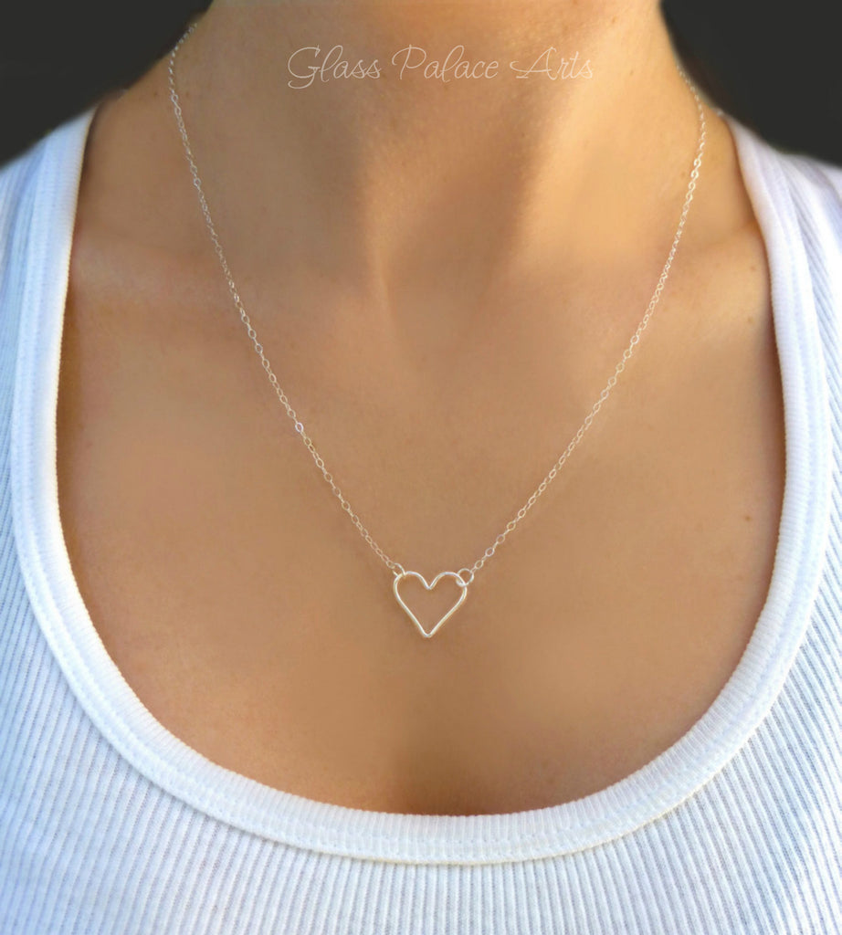 Tiny heart necklace small sideways heart necklace silver gold tiny heart necklace small sideways heart necklace silver gold or rose gold mozeypictures Images
