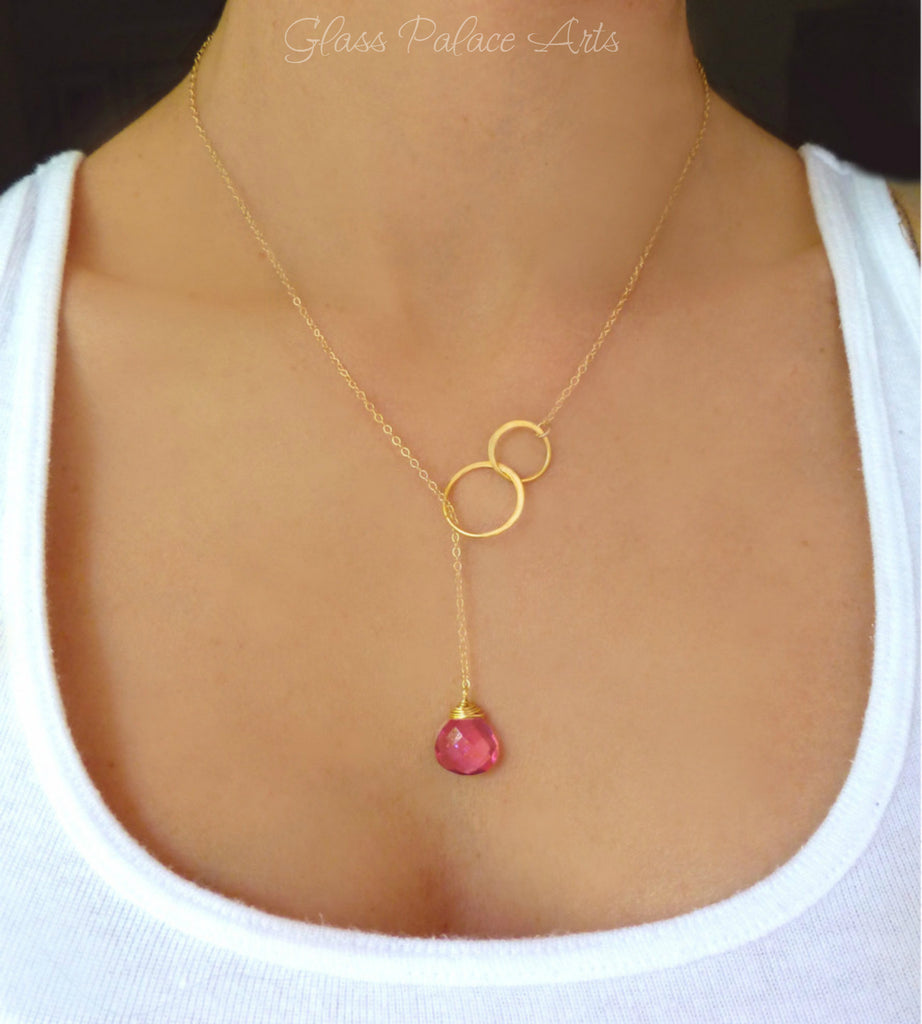 Pink Quartz Gemstone Teardrop Necklace - Infinity Lariat In Gold or Sterling Silver