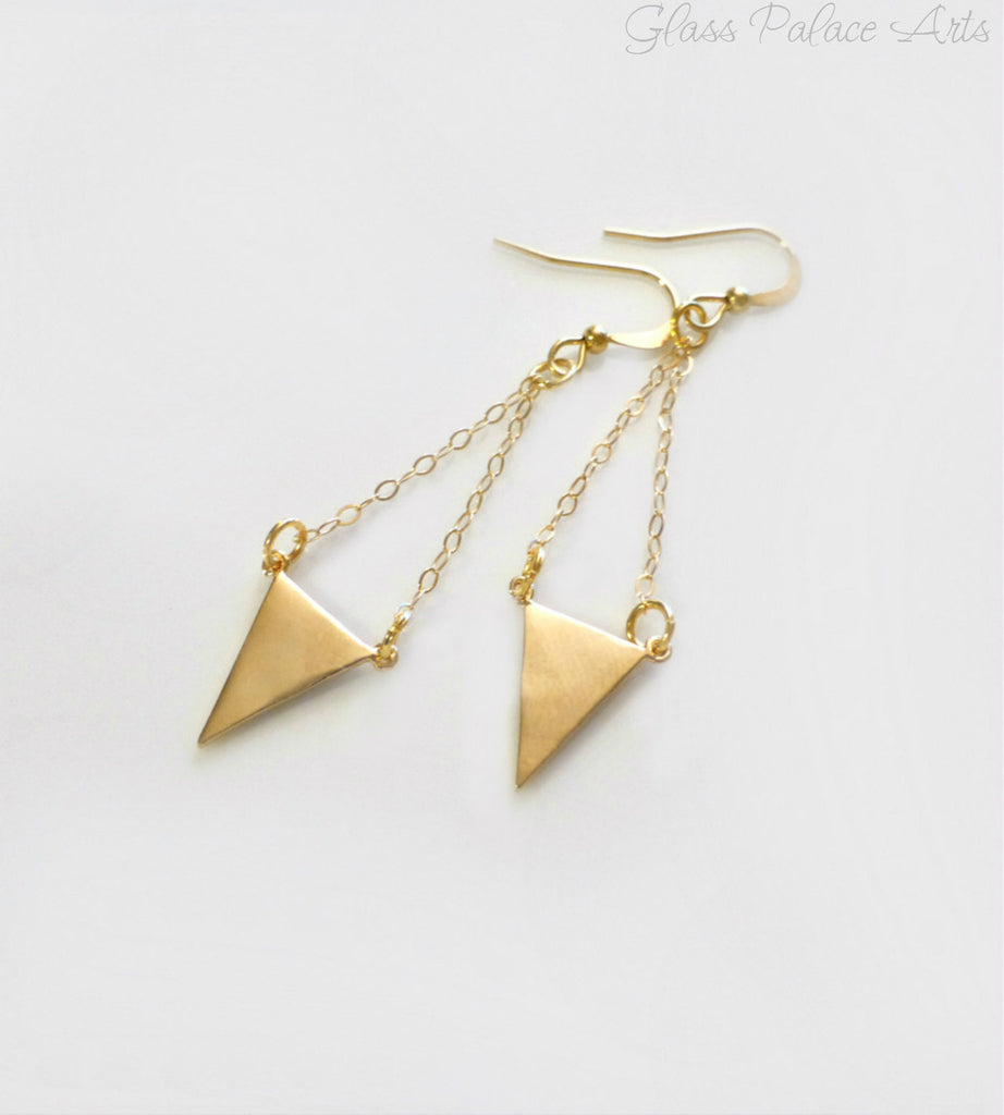 Gold Geometric Chevron Triangle Earrings
