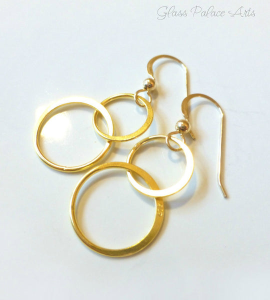 Gold Infinity Earrings - Dangling Double Circle Earrings - Gold or Sterling Silver