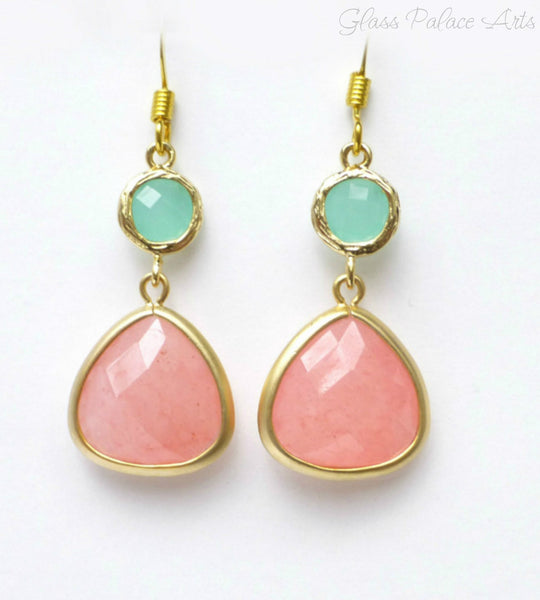 Coral and Mint Earrings - Pink Coral Dangle Earrings