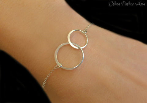 Interlocking Circle Infinity Bracelet For Women, Sterling Silver, Gold or Rose Gold
