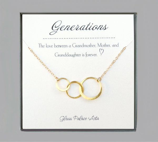 Three Circle Generations Necklace Gift -  For Grandmother, Mother, Daughter