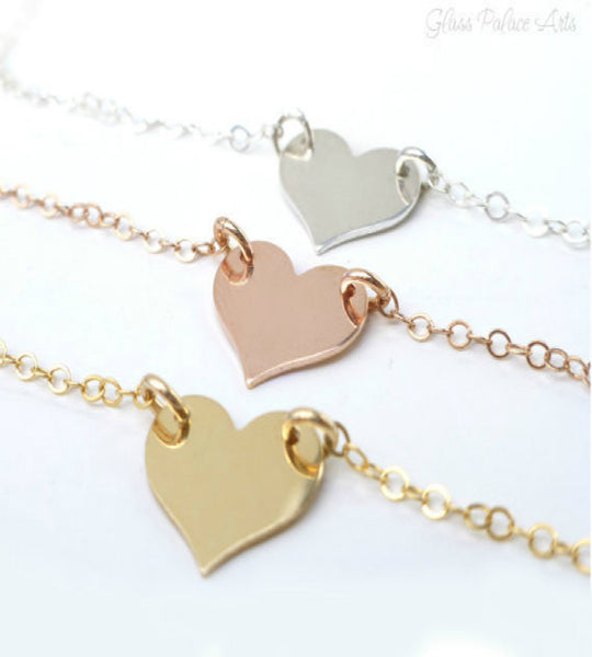 Small Heart Necklace - Personalized Heart Disk - Gold, Rose Gold or Silver