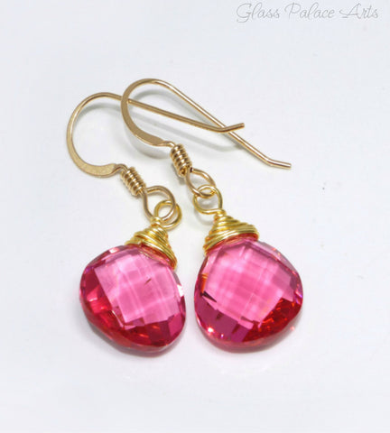 Pink Quartz Teardrop Earrings - Sterling Silver or 14k Gold Fill