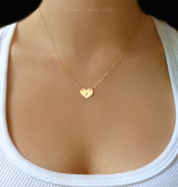 Stamped Heart Necklace With Freshwater Pearls - Gold, Sterling Silver or Rose Gold