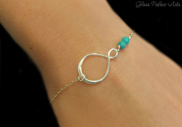 Beaded Turquoise Infinity Bracelet For Women - Sterling Silver or Gold