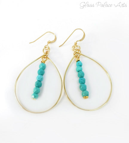 Turquoise Hoop Earrings For Women - Sterling Silver or Gold