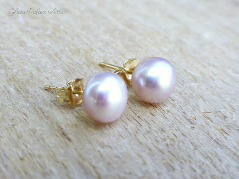 Freshwater Pearl Pink Stud Earrings - Sterling Silver or 14k Gold Fill, 5mm, 6mm, 7mm, 8mm, 9mm