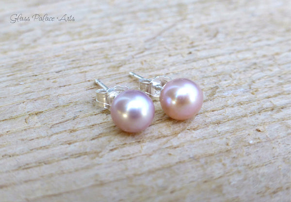 Pink Champagne Freshwater Pearl Stud Earrings - Sterling Silver or 14k Gold Fill, 5mm, 6mm, 7mm, 8mm, 9mm