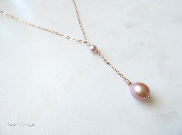 Champagne Pink Freshwater Pearl Y Necklace