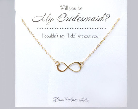 Will You Be My Bridesmaid Gift - Infinity Necklace - Gold and Silver