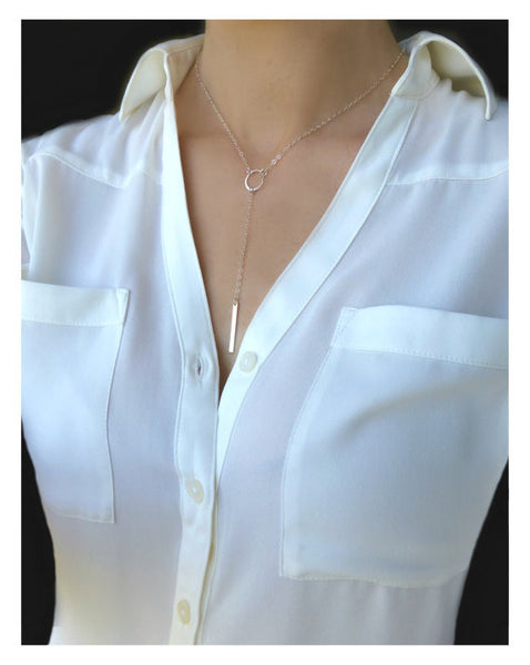 Long Bar Y Necklace - Long Lariat Choker Necklace - Silver Gold