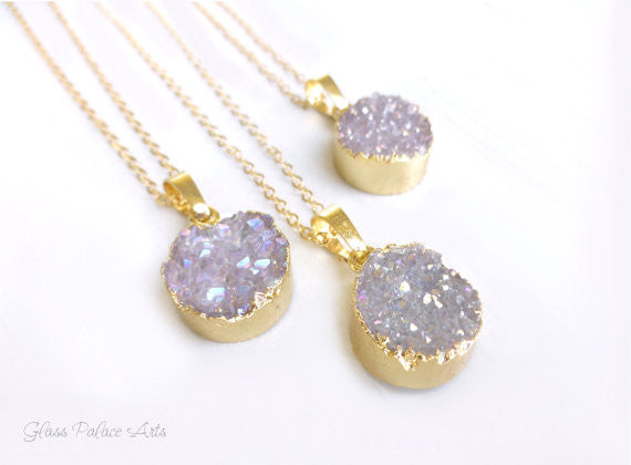 Round Lavender Druzy Necklace For Women - Agate Crystal Pendant Necklace Gold or Sterling Silver