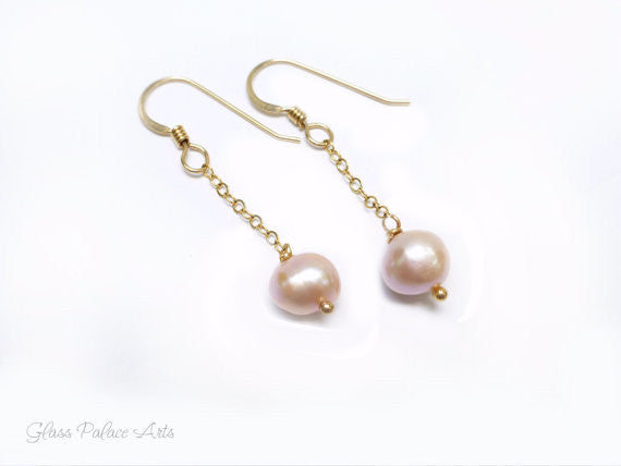 Pink Pearl Earrings - Champagne Pearl Dangle Earrings